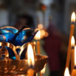 Russian Orthodox Church. Burning candles on a candlestick - 图库照片