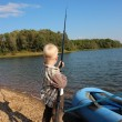 Stock Photo: Boy fishing. fisherman