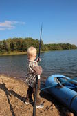 Boy fishing. fisherman — Stock Photo