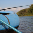 Stock Photo: Fishing. Rubber boat on the lake