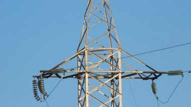 High voltage towers. winter — Stock Video