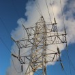 High voltage towers. winter — Stock Photo