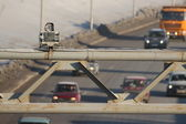 Photofixation speeding. Speed Radar on the road — Stock Photo