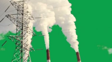 The smoke from the chimney of thermal station. Generation, power system. Green background, green screen, chroma keying — Stock Video