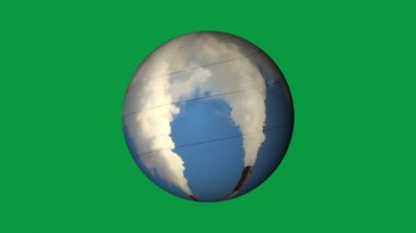 Thermal power generation on a globe. Generation, energy systems, warming. Green background, green screen, chroma keying — Stock Video