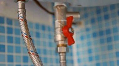Water heater in the bathroom (boiler) — Stock Video