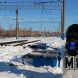 Railroad. Shunting traffic lights (blue lights) - Stock Photo