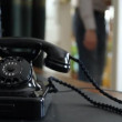 Vintage black telephone. Man dials — Stock Video