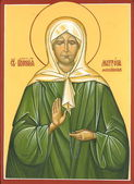 """Icon """"The Holy Blessed Matrona of Moscow."""" Painting, gesso, oil — Stock Photo"""
