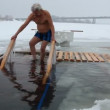 Swimming in the ice-hole — Stockvideo