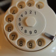 Vintage classic white phone. Woman dials — Stock Video