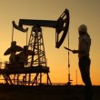 Man (engineer) with securities for the oil pumping unit. sunset — Stock Video #25464735