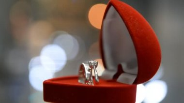 Two wedding rings in a box. — Stock Video