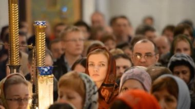 Russian Orthodox Church, Easter. Easter service. — Vídeo de stock