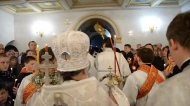 Russian Orthodox Church, Easter. Easter service. — Vídeo Stock