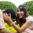 Stock Photo: Couple tease in garden3