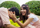 Couple tease in the garden3 — Stock Photo
