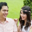Stock Photo: Lovely couple laugh in garden2