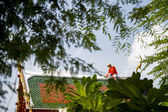 A Man repair roof of Temple — Stock Photo