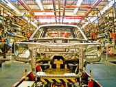 Car assembly line for make body cab1 — Stock Photo