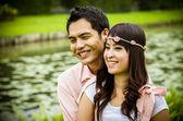 Lovely couple hug in the garden2 — Foto Stock