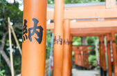 Japanese Charactor on Red Torii — Photo