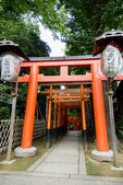 Red Torii Gate before go to Japanese Temple — Stock Photo