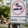 Stock Photo: Sign prohibit smoke in Thailand park