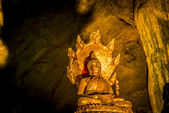 Golden Buddha statue with Big Snake statue in the cave — Stock Photo