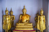 Group of Golden Buddha statue are in the Thai Temple1 — Stock Photo