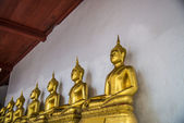 Row of sitting golden buddha statue2 — Stock fotografie