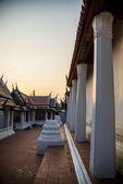 Inside Thai Temple area with sunset scene — Stock Photo