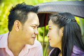 Lovely couple look together in romance scene — Stock Photo