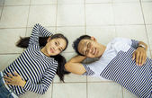 Lovely couple smile in relax scene — 图库照片