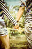 Lovely couple hold the hands2 — Stock Photo