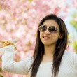 Smile woman with pink cherry flower tree3 — Stock Photo #42705703