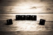 I love you word on the wooden floor8 — Stok fotoğraf