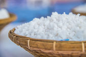 White Coarse kosher salt in basketwork — Stock Photo