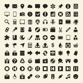 плоский черно-белые иконки — Cтоковый вектор
