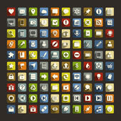 100 Universal Flat Icons with long shadows For Web and Mobile — Vetorial Stock