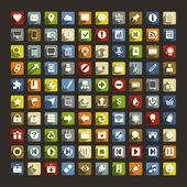 100 univerzální ploché ikony s dlouhými stíny pro web a mobilní — Stock vektor