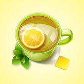 Green cup of tea with lemon and min — Stock Vector