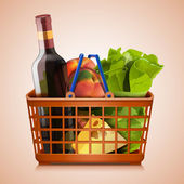 Shopping basket full vector icon — Stock vektor
