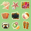 Summer icon set of stickers — Stock Vector