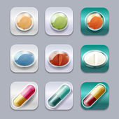 Medical pills set, different colors vectors collection. — Stock Vector