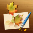 Watercolor with autumn leave  — Stock Vector