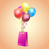 Balloons & gift in beatiful reusable bag — Stock Vector