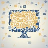 Social media, communication in the global computer networks — Stock vektor