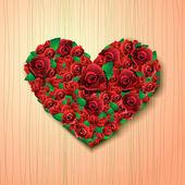 Herz aus rosen auf abstrakt — Stockvektor