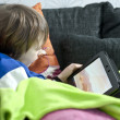Playing on tablet — Stock Photo